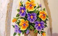 geanta cusuta manual cu flori unicat colorat