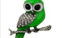 Pandantiv argintiu bufnita cu strasuri verde 52mm