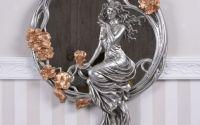 Oglinda Art Nouveau argintie cu o nimfa