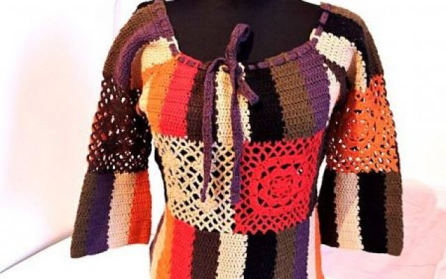 bluza colorata crosetata manual unicat