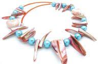 Colier sidef si perle de sticla cod 02