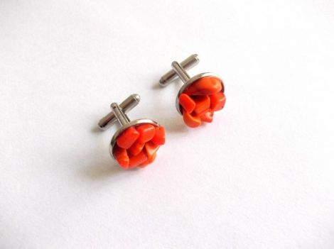 butoni camasa cu coral portocaliu