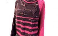 pulover gri roz tricotat manual unicat