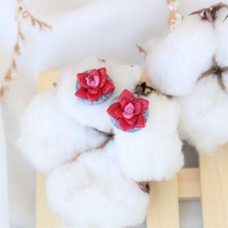 Suculente rosii - cercei tinta inox
