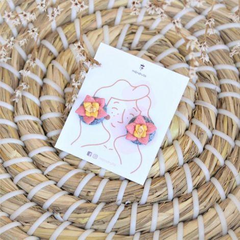 Suculente roz - cercei tinta inox