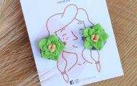 Suculente verzi - cercei tinta inox