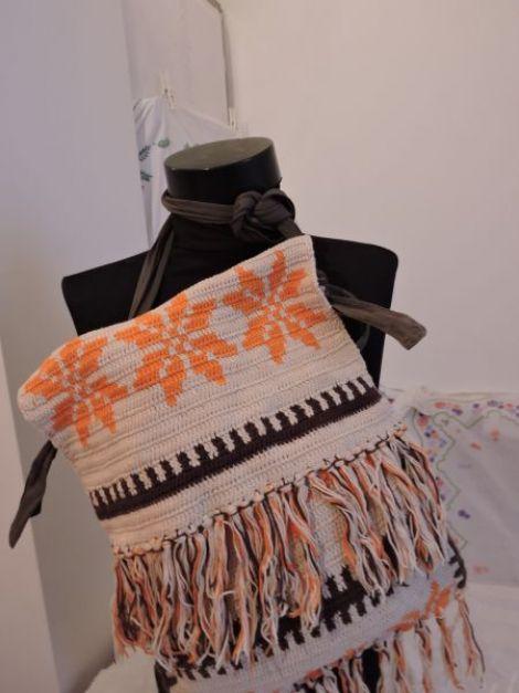 geanta traista  crosetata manual cu portocaliu