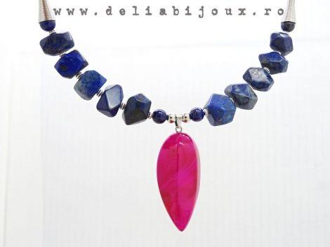 Colier lapis lazuli si pandantiv agata