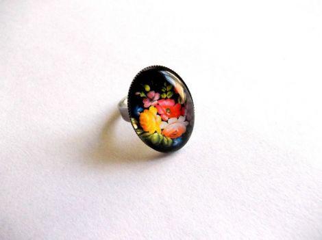 inel sticla cu motiv floral