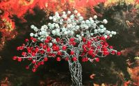 Bonsai decorativ din sarma si margele