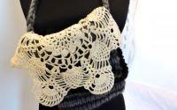 geanta poseta  lana gri tricotata manual