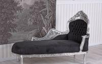 Sofa din lemn masiv argintiu cu tapiterie neagra