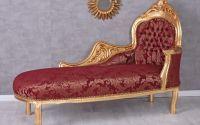 Sofa din lemn masiv auriu cu tapiterie rosie
