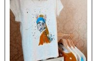 Bulldog francez cu turban - tricou pictat manual