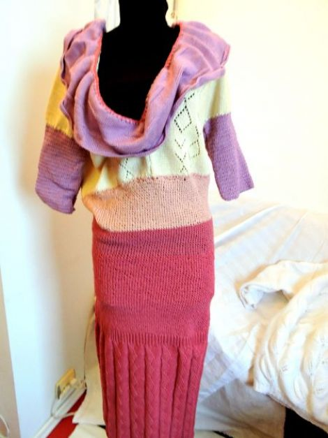 rochie crosetata roz cu guler unicat