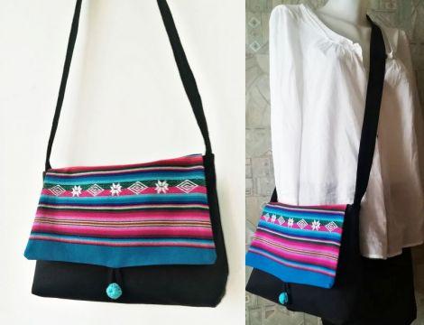 geanta cu tesatura multicolor