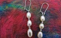 Cercei perle naturale de cultura si otel inoxidabi