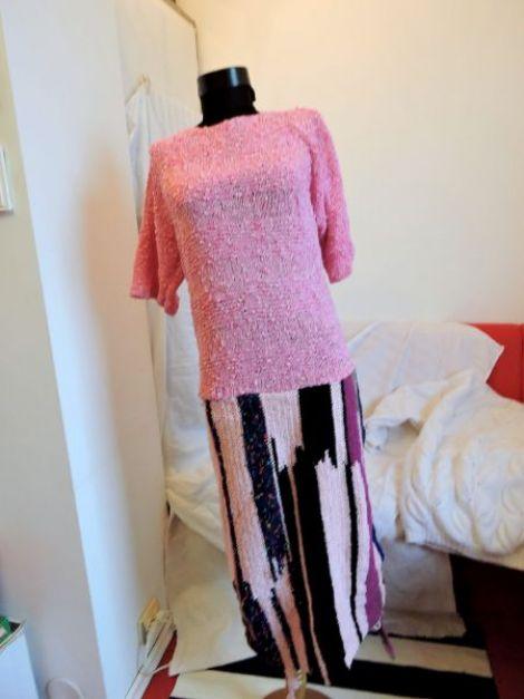 rochie roz crosetata manual unicat