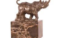 Rinocer- statueta din bronz pe soclu din marmura