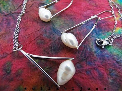 Set bijuterii perle naturale si otel inoxidabilII