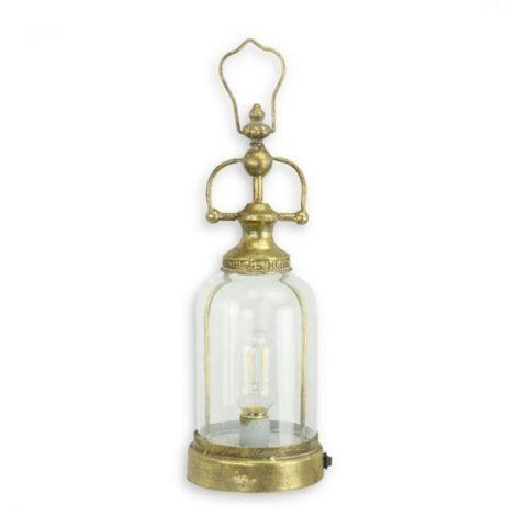 Felinar electric din metal auriu cu sticla