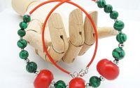 Colier malachit si margele de lemn cod506