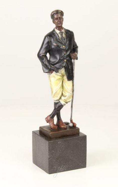 Jucator de golf - statueta din bronz pictat