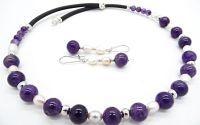 Set de bijuterii ametist si perle de cultura natur