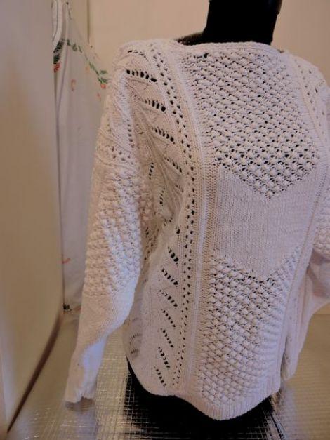 bluza alba tricotata manual
