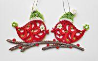 Ornament brad Craciun crenguta cu pasari