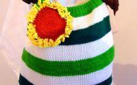 geanta verde cu dungi tricotata manual
