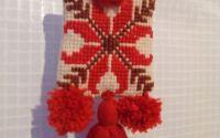 colier textil rosu