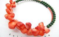 Colier fulgi de coral si jad cod520