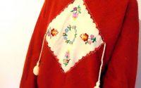 bluza pulover maro tricotat manual cu broderie