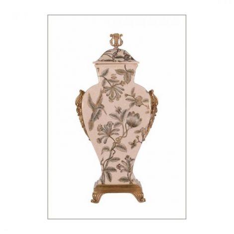 Amfora din portelan Craquele cu bronz