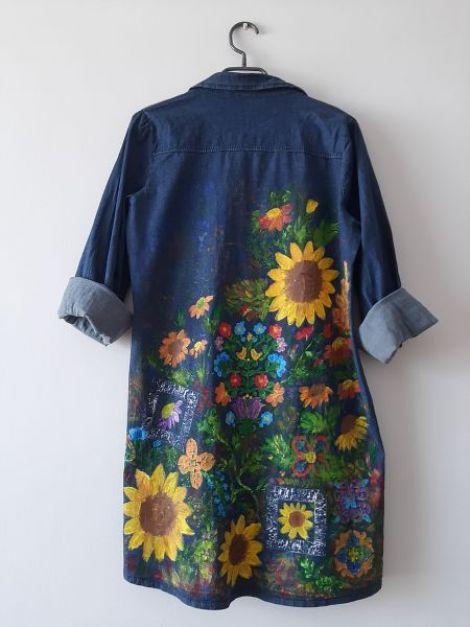 Camasa tip rochie denimpictata manual