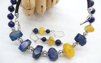 Set de bijuterii lapis lazuli si agate cod523