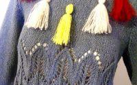 pulover bluza albastra tricotata manual