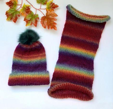 Set caciula si fular circular tricotate manual