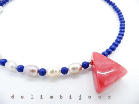Colier lapis lazuli si perle de cultura naturale