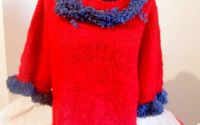 bluza rosu cu gri tricotata manual