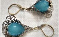 Cercei-jad fatetat bleu-turqoise