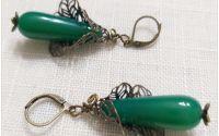 Cercei -agat verde si bronz