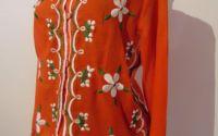 bluza ie camasa portocalie cu multa broderie