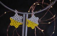 Cercei asimetrici cu model floral