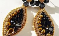 Cercei de gala negru-auriu