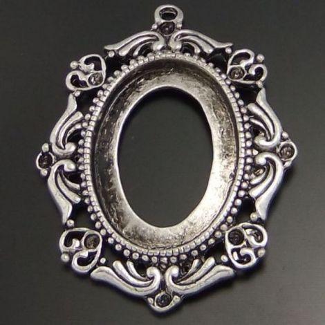 Pandantiv baza cabochon argint tibetan 46 x 36mm