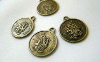 charm moneda bronz antichizat 15mm - 1 buc. cod44