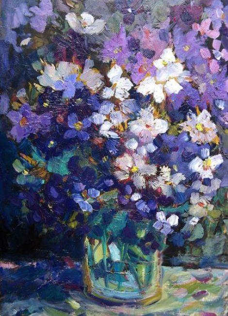 Vaza cu flori marunte albastre