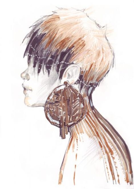 Desen de moda portret in tehnica mixta